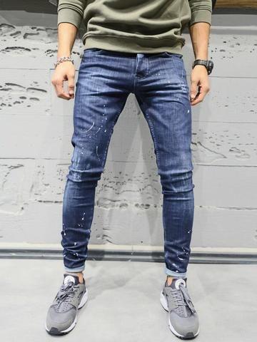 0820c924ec 2Y Men Slim Fit Simplicity Paint Distressed Jeans - Dark Blue in ...