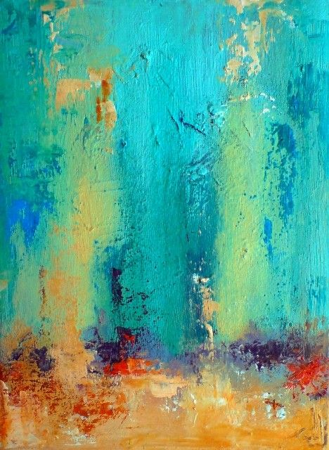 Forest - original oil painting , abstract