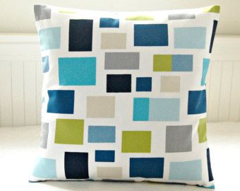 cushion cover teal blue, lime green, turquoise, grey, navy , 18 inch decorative throw pillow cover