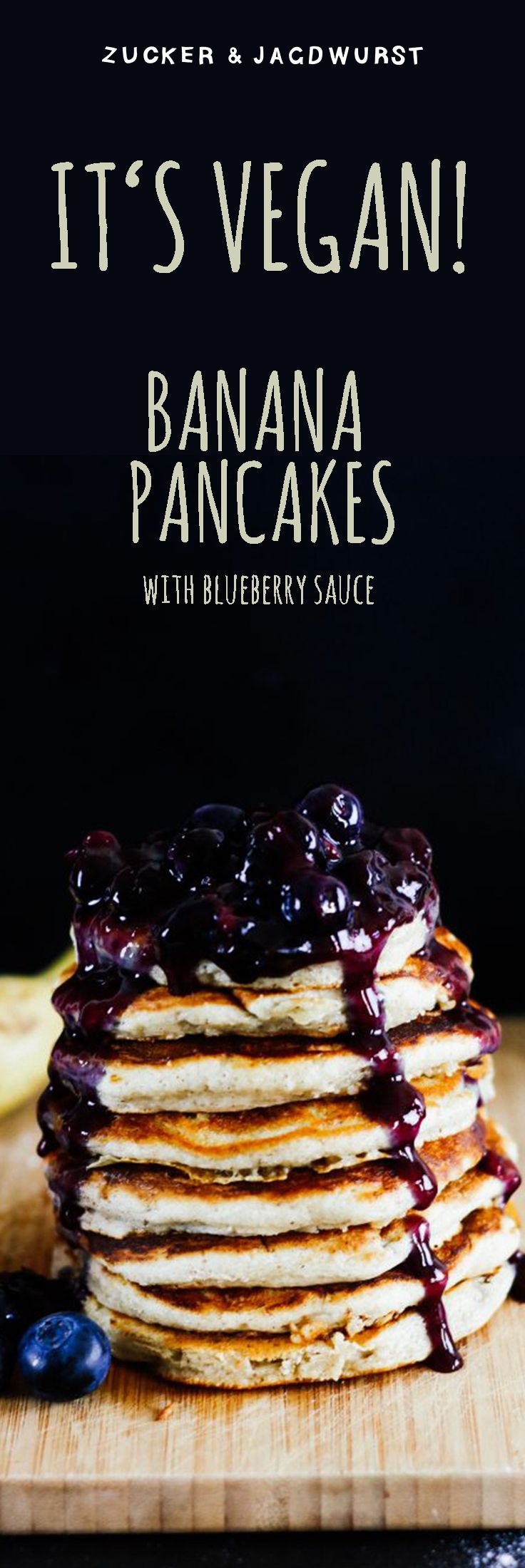 Vegan Banana Pancakes with Blueberry Sauce