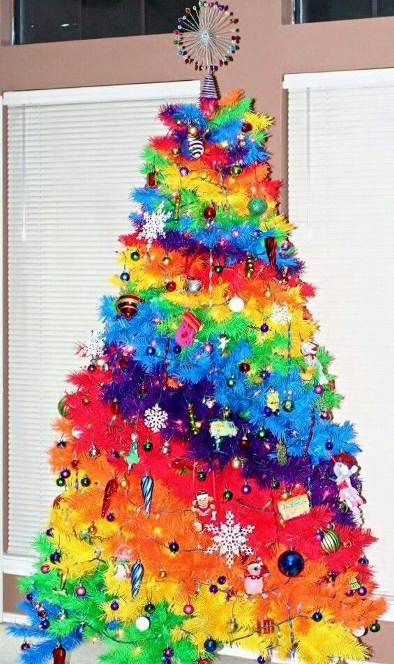 Color Burst Rainbow Christmas Tree Rainbow Christmas Tree Rainbows Christmas Unique Christmas Trees