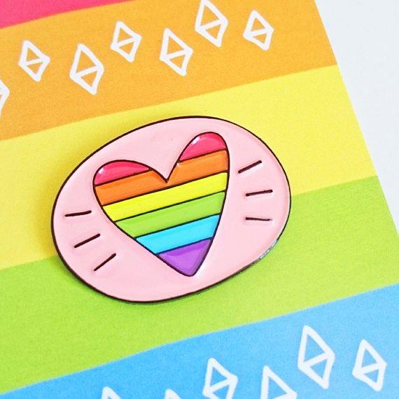 Rainbow Heart Enamel Pin Gay Pride Enamel Pin Badge Pride