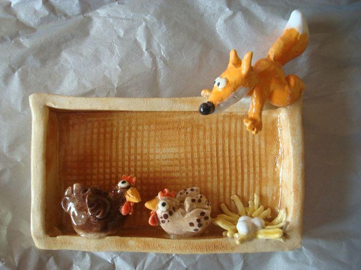 Poterie: poulettes et renard.