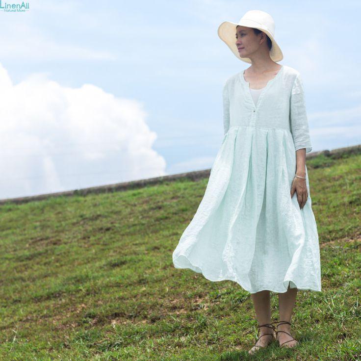 LinenAll лета женщин зеленое платье, белье V образным Вырезом цельный платье 100% Белье Строки длинное платье женский wuyou купить на AliExpress