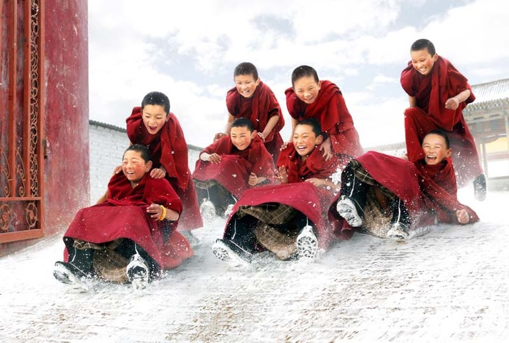"""""""Little Monks Life: aftersnowb"""", taken in China & Myanmar, by Chan Kwok Hung."""