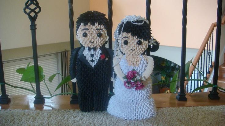 3d Origami Bride and Groom. $280.00, via Etsy.