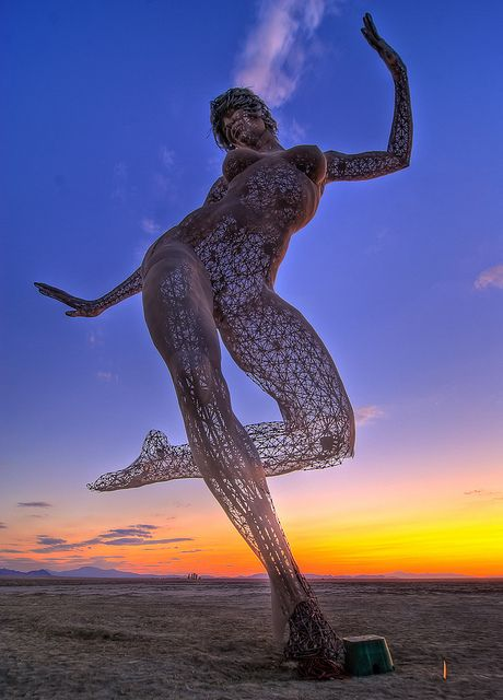 """Marco Cochran's Bliss Dance sculpture released at Burning Man, now on Treasure Island. I can't wait to see his next breathtaking piece, """"Truth is Beauty."""""""
