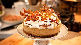 Hairy Bikers Toffee Caramel Pecan Nut Baked Cheesecake (with caramel shards) MMMMMM http://www.bbc.co.uk/food/recipes/pecan_toffee_cheesecake_22876