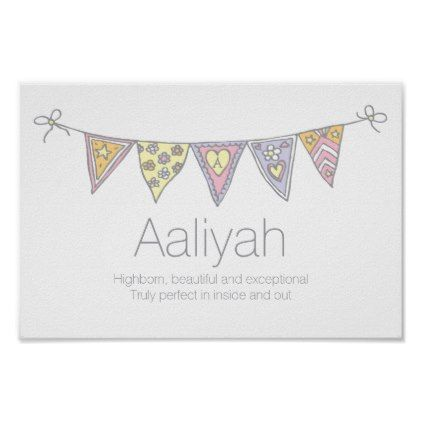 Aaliyah girls name and meaning bunting poster - baby gifts child new born gift idea diy cyo special unique design