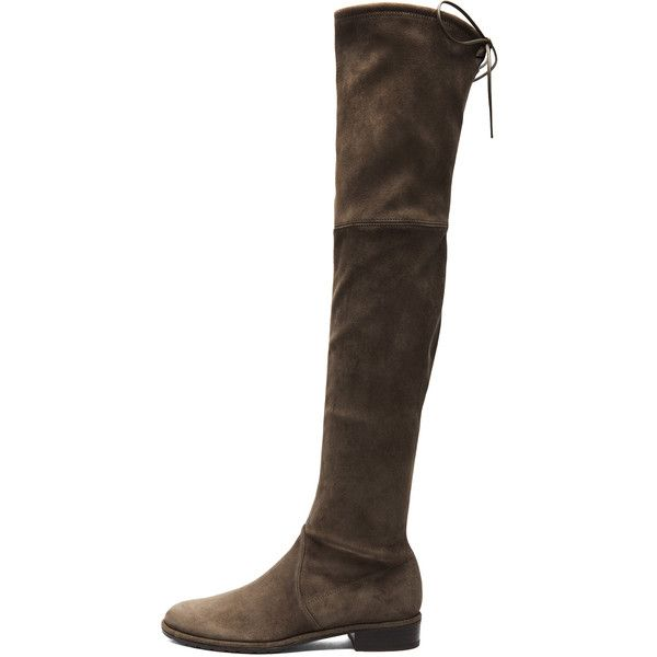 Stuart Weitzman Lowland Suede Boots ($798) ❤ liked on Polyvore featuring shoes, boots, over-the-knee boots, over the knee suede boots, stuart weitzman boots, above the knee boots, low heel thigh high boots and suede boots