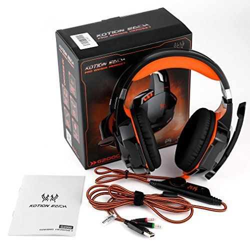 EACH Casque Audio – Audio Stéréo Bass – Technologie Anti Bruit – Rétroéclairage LED – Microphone Intégré – Compatible PC Playstation Xbox:…