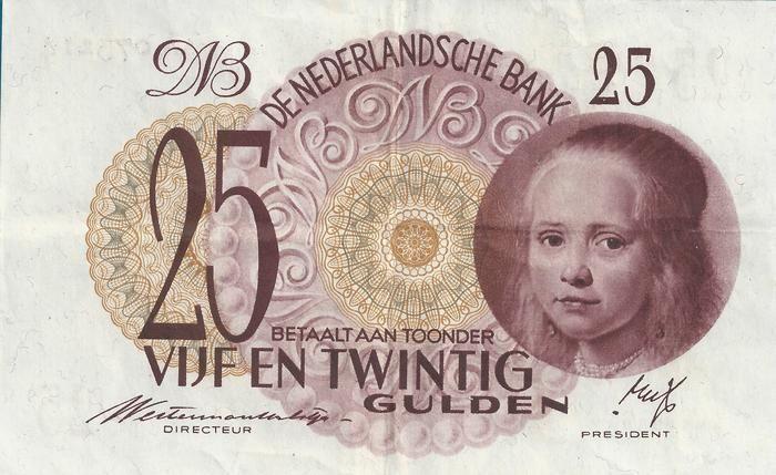 """Nederlands - 25 Gulden 1945 """"Meisje in Blauw"""""""