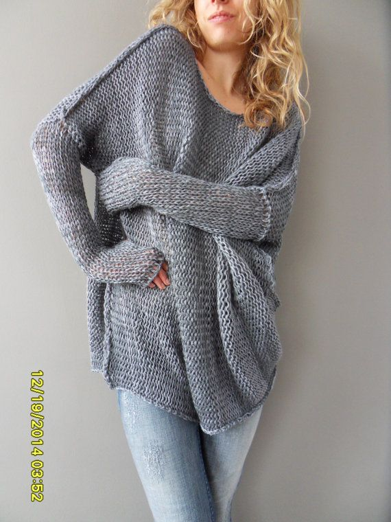 Oversized / Bulky / Slouchy tunic. Cotton blend, loose knit ...