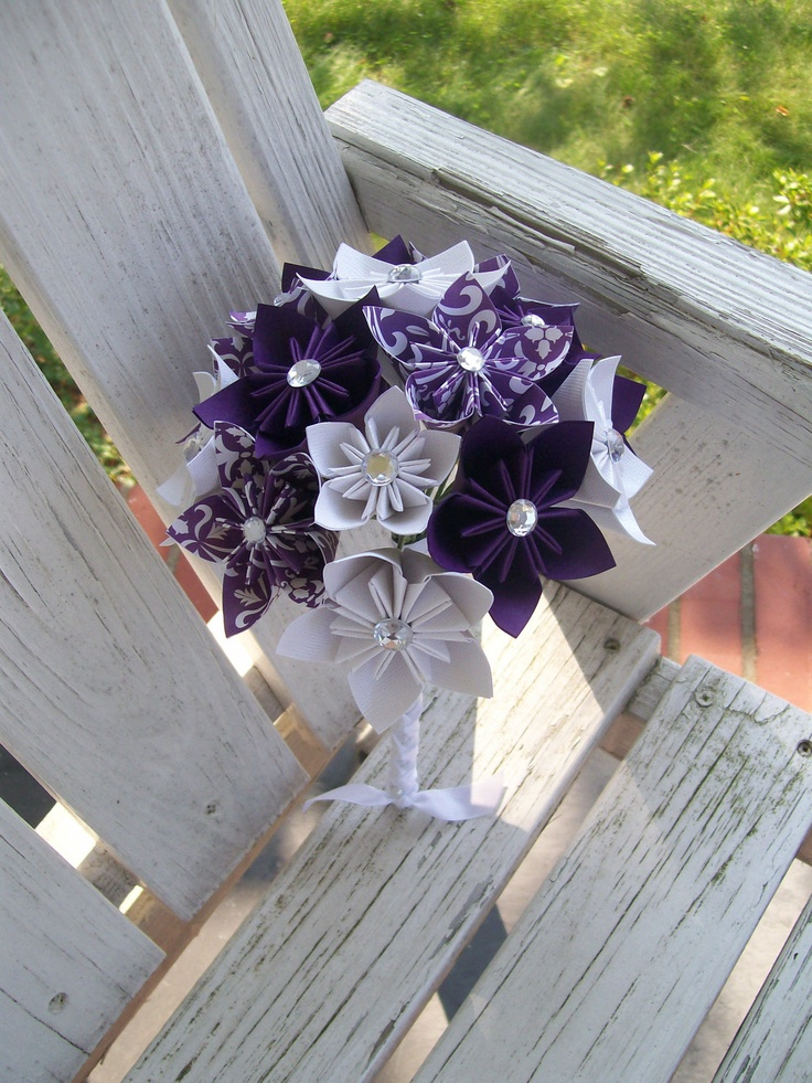 Paper Wedding Flowers Custom Bridesmaid Bouquet -  Kusudama - Origami - Purple - Damask. $53.00, via Etsy.