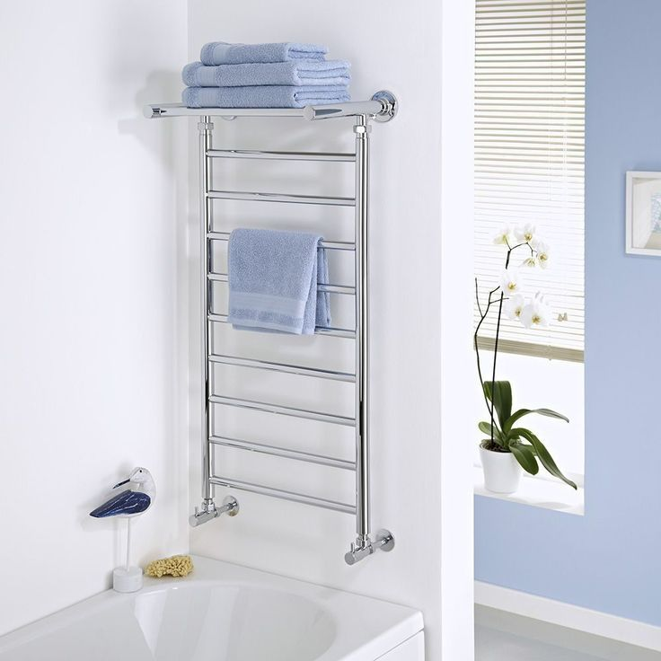Milano Pendle Chrome Heated Towel Rail With Shelf 1000mm X 488mm