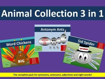 A cheeky chicken, a busy little ant, and a handsome spider to liven up your class.  Use these creatures with synonyms, antonyms, adjectives or sight words.  They can even just be used as a craft/art activity.  Attach thin elastic to the spider and let him dangle from your classroom roof!
