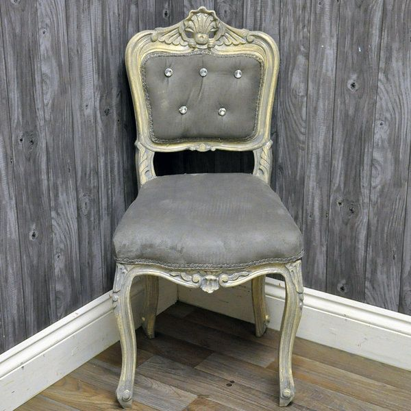 Antique Finish French Style Louis Bedroom Chair With Grey Velvet Fabric