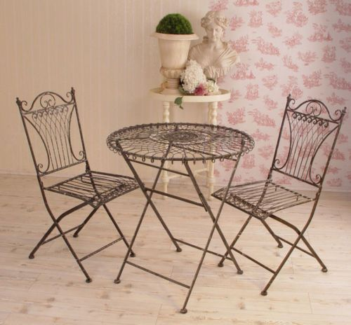 Wrought-Iron-Metal-Garden-Table-Chairs-Bistro-Furniture-SET-SHABBY-CHIC-COTTAGE