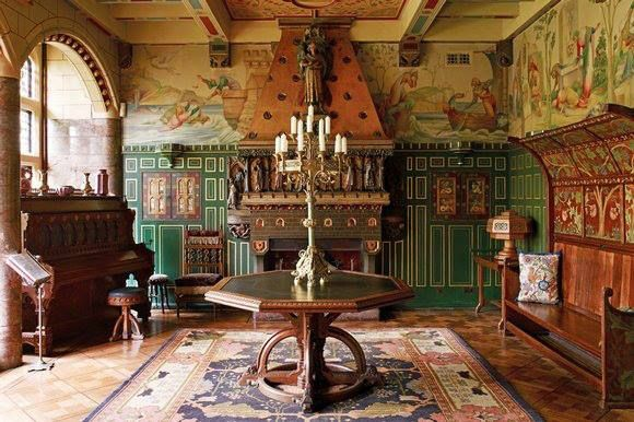 Jimmy page 39 s drawing room and music room at his medieval for Interior design south london