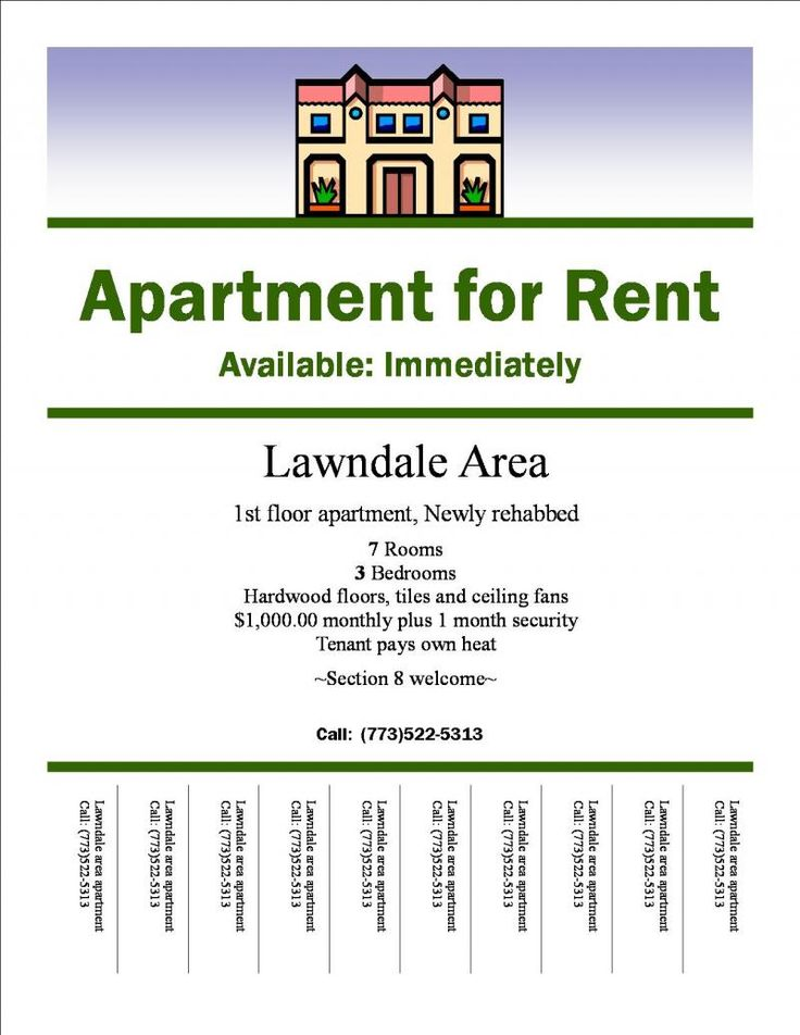 Apartments For Rent Flyer - home decor - Xshare.us