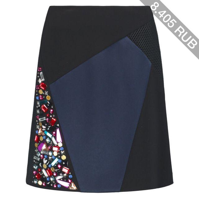 DKNY Embellished paneled stretch-knit mini skirt