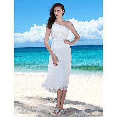 Lan Ting Sheath/Column Plus Sizes Wedding Dress - Ivory Tea-length One Shoulder Chiffon – USD $ 79.99