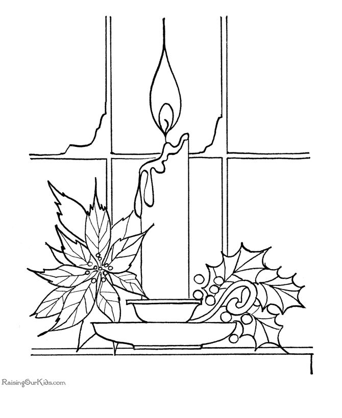 Candle Coloring Page Christmas Pages For Kids Ornament