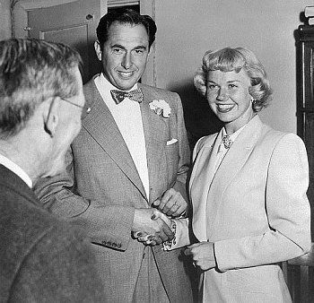 Doris Day opted for a simple suit for her wedding to Marty Melcher in 1951.  (via Film Star Brides «An Elegant Obsession)
