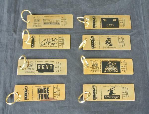 Vintage Broadway Theater Ticket Brass Key Chain - Broadway Bazaar