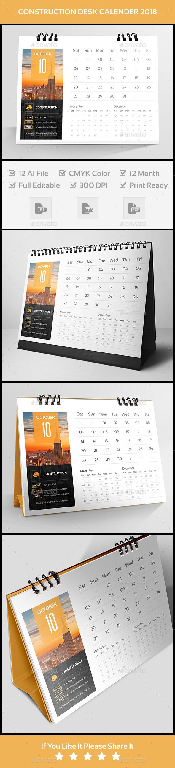 Construction Desk Calender 2018 - #Calendars #Stationery Download here: https://graphicriver.net/item/construction-desk-calender-2018/20089120?ref=alena994