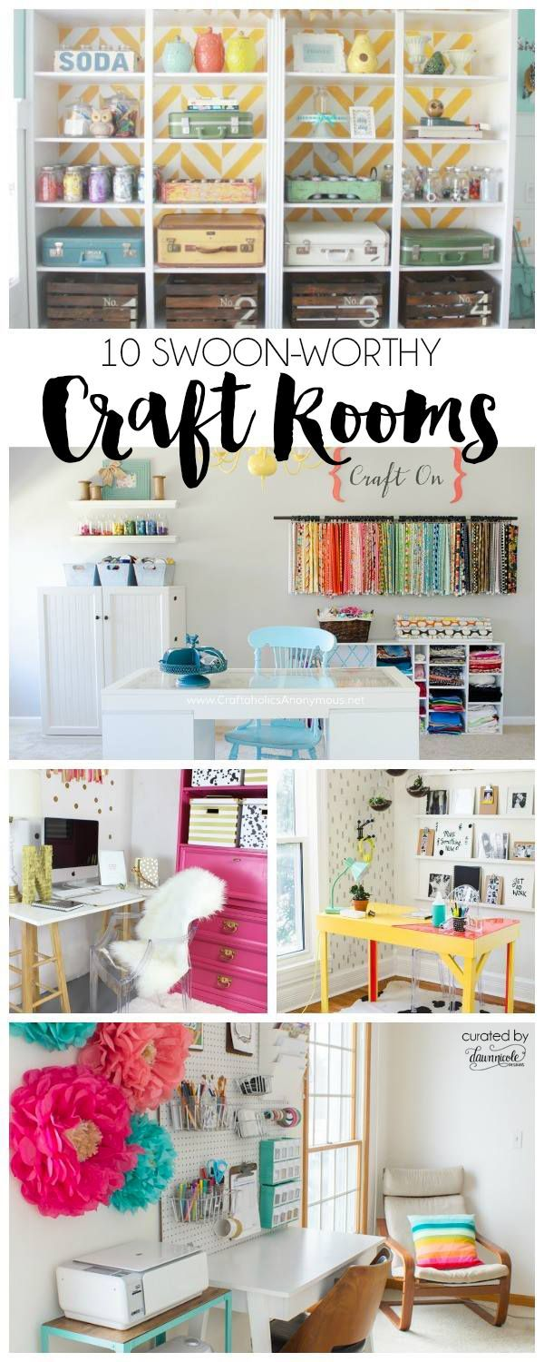 10 Swoon Worthy Craft Rooms - love the organization ideas for all the craft supplies! These colorful rooms are the CUTEST!
