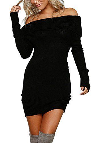 9970a273c9e8 AIYUE Vestito in Maglia Donna Sottile Vestitini Eleganti Maglioni Autunno  Invernale Maniche Lunghe Fuori Spalla Abiti