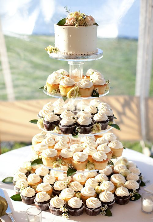 Brides: An Elegant, Laid-Back Wedding at The Allen Farm in Martha's Vineyard, MA #CupcakeTower