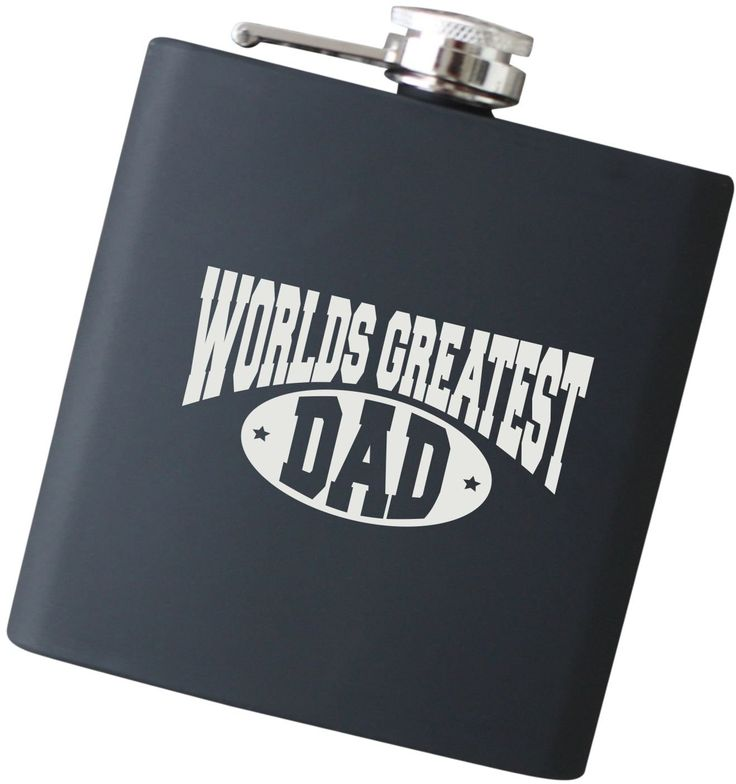 """Worlds Greatest Dad Engraved Black Hip Flask - Perfect Christmas Gift for Dad, Father of the Bride and Groom, Father's Day Present - F17.NC. Our high quality, stainless steel flasks will be laser engraved with precision with """"Worlds Greatest Dad"""" as shown. Our specialized engraving process permanently marks the flask, so it will not wear off over time. ...Item Details... ~ Holds 6 oz of your favorite drink ~ Constructed from durable food grade stainless steel ~ Complimentary laser…"""