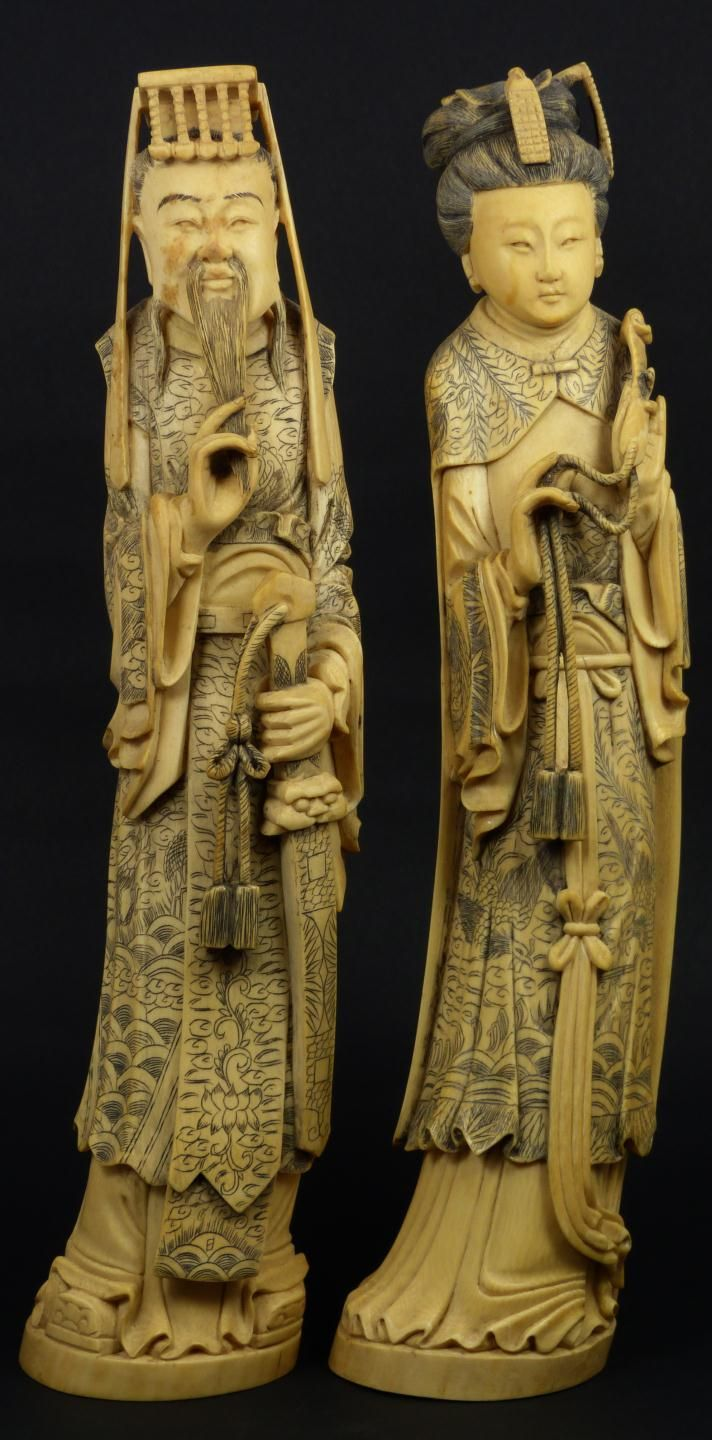 Chinese ivory emperor empress figures pair of