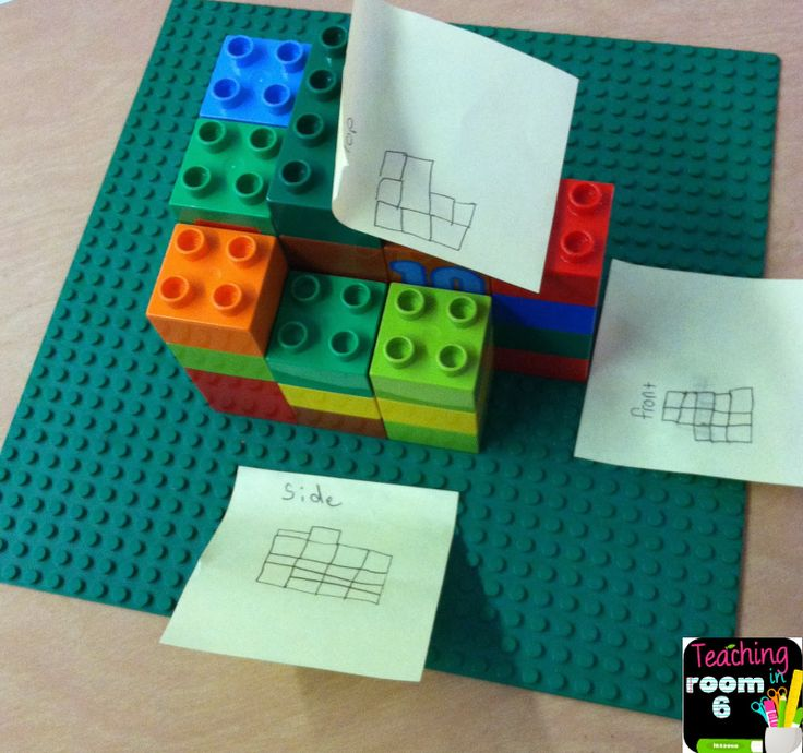 Using Legos to find additive volume. Kids work in groups.  Lots of discussion as…
