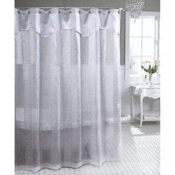 Floral Stripe Semi Sheer Shower Curtain In White Or Antique White. Thereu0027s  A Hint Of