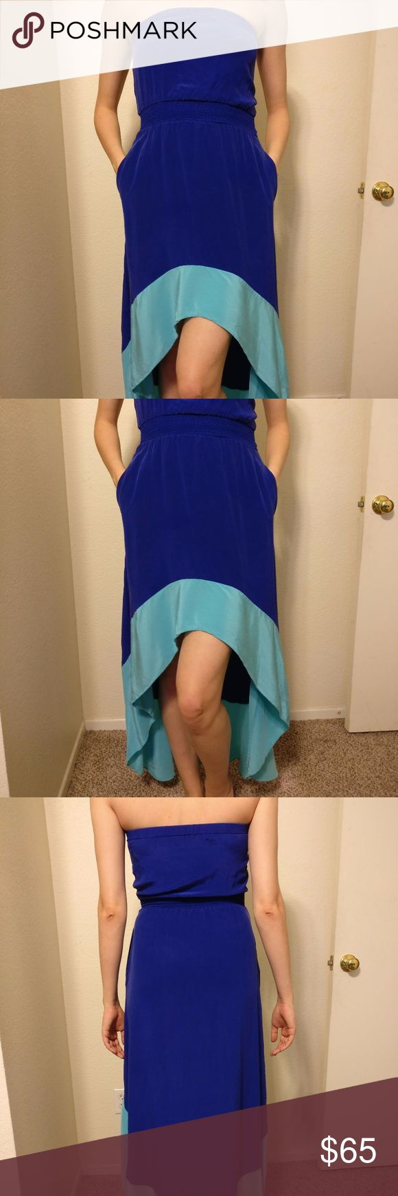 """Jay Godfrey Deep Blue Silk Maxi Dress Jay Godfrey Deep Blue Silk Colorblock Strapless Maxi Dress with Pockets, Size 0  Gently Pre-Owned. Great Condition. No holes, rips or stains.  Top elastic band is 13 1/2"""" and stretches to 20 1/2 """" Waist elastic band is 9"""" and stretches to the 15"""" Front length: 27"""" Back length: 50""""  If there are any questions, don't hesitate to ask. Thank you. Jay Godfrey Dresses Maxi"""