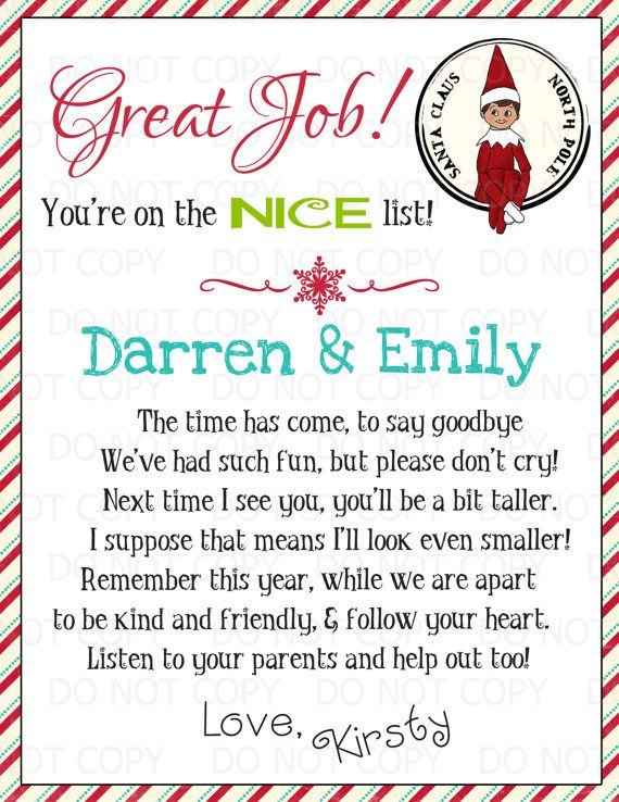 This is a picture of Striking Elf on the Shelf Goodbye Letter Free Printable