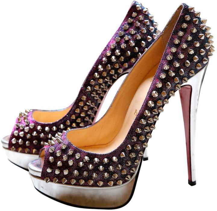 #Louboutin lives forever Silver #heels Spike Platform #Pumps ❤ http://goo.gl/gUVmRu  ❤
