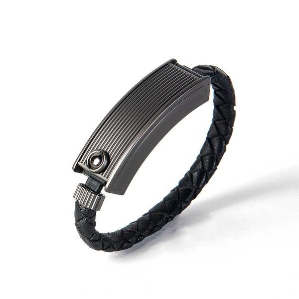 Black Leather Charging Bracelet With Onyx Clasp For Iphone Tech