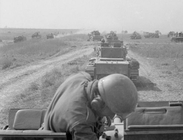 AUG 20 1944 Polish armour holds SS counter-attack at Mont-Ormel Column of Cromwell tanks of the 10th Mounted Rifles Regiment (1st Polish Armoured Division) moving towards enemy positions during the Battle of Falaise Pocket.