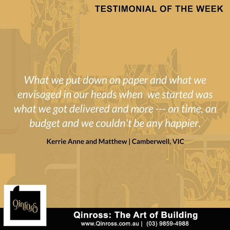 Here's an awesome testimonial from our clients Kerrie Anne and Matthew from Camberwell, VIC!  If you want to see what other clients had to say about us, visit our feedback page: http://bit.ly/211vp1R