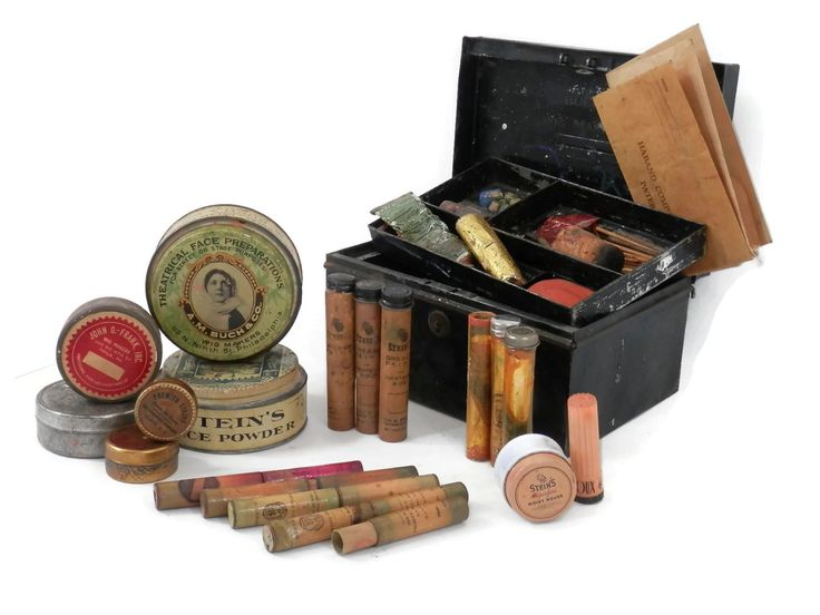 19th Century Stage and Theater Make Up Kit with Mustache Disguises and Tins All Original by bigbangzero on Etsy