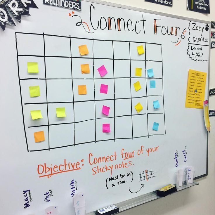 Each group had a cup filled with ten review questions based on what we've learned in math this year. The students worked together to solve the questions one at a time. If they got the right answer, they got to go place one of their sticky notes on the board. (Each team had their own color.) I only gave them four sticky notes total. If...