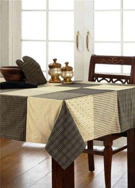 Manteles de patchwork: Fotos de diseños - Modelo de mantel de patchwork en tonos oscuros