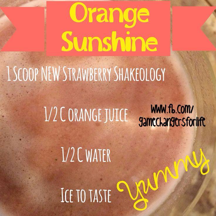 Yummy Shakeology recipe with the NEW Strawberry Shakeology!! It's like a ray of sunshine! #shakeology #recipe #strawberry #healthy