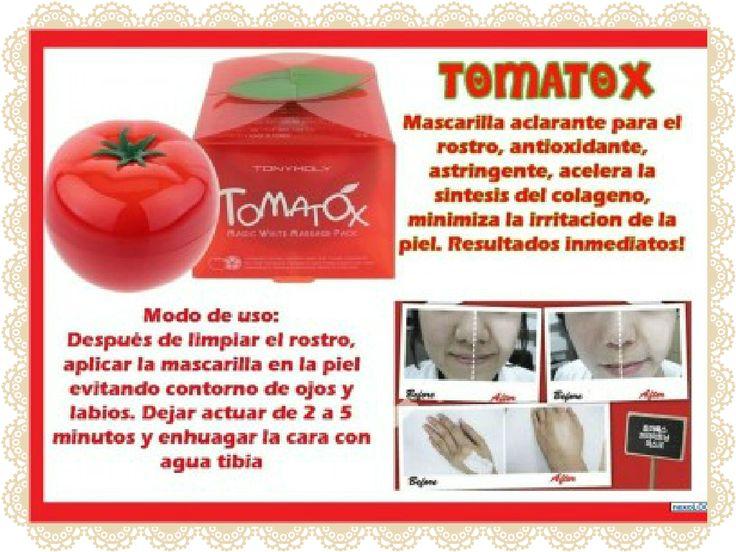TOMATOX TONYMOLY  Precio: $11.990 PRECIO ESPECIAL LANZAMIENTO TIENDA: $9.990 Stock: 1 Descripción: Mascarilla blanqueadora, limpiadora e iluminadora. Tiene extractos naturales, dentro de sus principios activos contiene tomate, caracterizado por sus propiedades antioxidantes - Limón: acelera la síntesis de colágeno y unifica el tono de la piel. - Extractos de Baicha: sirve para controlar la irritación de la piel. - Extracto de Houstonia: antioxidante, antiinflamatoria y antialérgica.