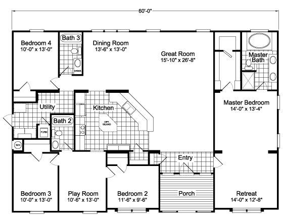 Split floor plan manufactured home