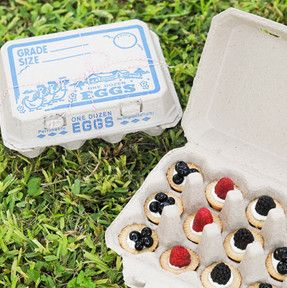 We are seriously digging these sweetly nostalgic egg cartons featuring a vintage-style farm scene. They'll be a hit at your county fair or farm-themed party, or